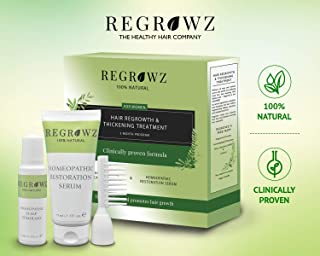 REGROWZ Womens Natural Hair Regrowth, Stop and Reverse Hair Loss, Clinically Proven, Natural Ingredients with Allium Cepa and Ocimum Sanctum (3 Month Program)