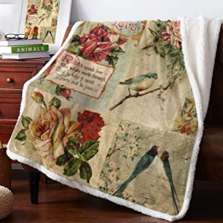 MuswannaA Sherpa Fleece Throw Blanket Red Rose Flowers with Birds and Leaves on Brown Vintage Background Super Soft Fuzzy ...