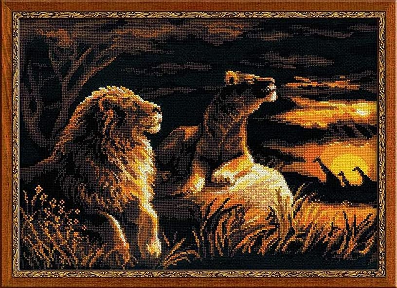 RIOLIS 1142 - Lions in the Savannah - Counted Cross Stitch Kit 15.75