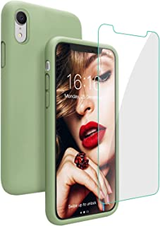 JASBON Case for iPhone XR, Soft Liquid Silicone iPhone XR Case with Tempered Glass Cover for Apple XR-Matcha