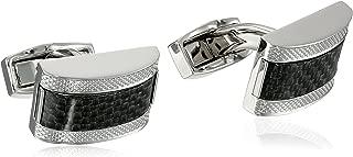 "Tateossian Men's ""Carbon Fibre"" D-Shape Cufflinks"