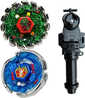 MSTWXL WXL-US Metal Fusion L-Drago BB-28 Storm Pegasus 105RF Battling Tops and Poison Serpent SW145SD Metal 4D High Performance BB-69 Toys with Black String Launcher+Grip Set