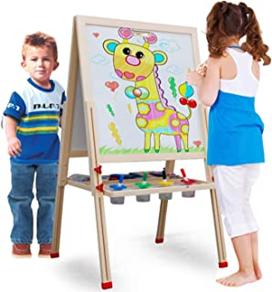 Kids Easel Set Double Sides Magnetic 3 in 1 Height Adjustable Wooden Painting Easel Portable Educational Toys Gift for Kid...