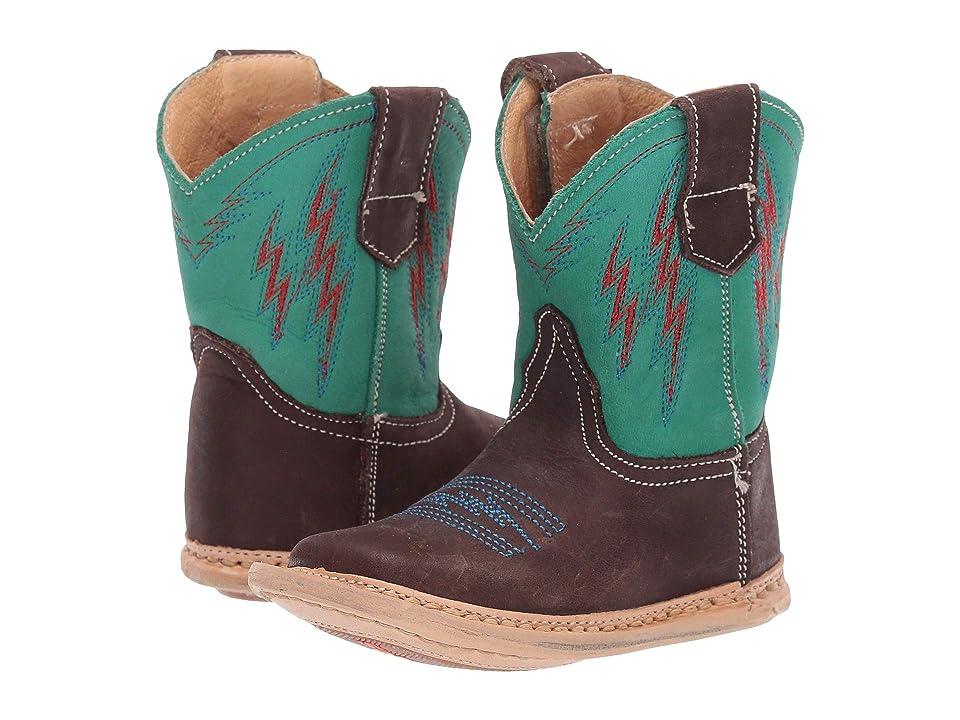 Roper Kids Cowbaby Lightning (Infant/Toddler) (Brown Vamp/Turquoise Shaft/Lightning Embroidery) Cowboy Boots