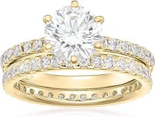 مجموعه ای از حلقه های گرد نقره ای پلاتین یا روکش طلا ساخته شده با Swarovski Zirconia