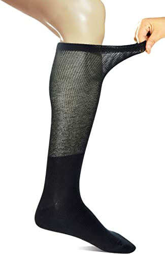 Yomandamor 4 Pairs Mens Knee High Compression/Diabetic Socks with Seamless Toe
