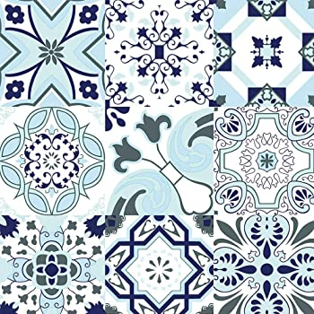 Self Adhesive Wallpaper Flower Blue Peel and Stick Contact Paper Waterproof PVC