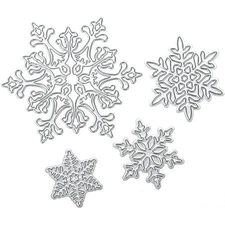 Scrapbooking dies de decoupe 4pcs Flocon de neige de Noël Cutting Dies pochoirs Matrices de découpe Bricolage Album papier carte Craft