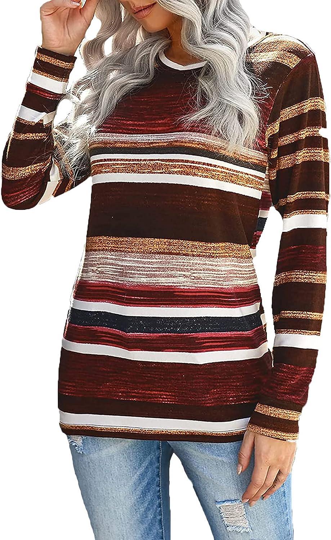 Bravetoshop Women Crewneck Sweatshirts Casual Long Sleeve Striped Loose Fit Tunic Blouses T Shirts