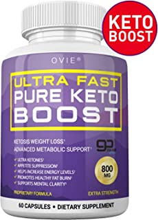 Ultra Fast Keto Boost - Advanced Clinically-researched Patented GoBHB Pure BHB Salts (beta hydroxybutyrate) - 800mg Keto Diet Pills - Best Ketosis Ketogenic Supplement; 60 Capsules; 30 Day Supply
