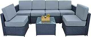 Mcombo Patio Furniture Sectional Wicker Couch Table and Chair Set Outdoor Black Rattan All-Weather Conversation Sofa with Thick Gray Cushions(5.12Inch) Clips 6085-1007EY