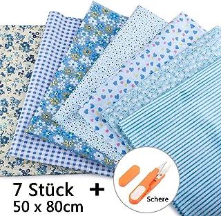 JTENG 7 piezas de telas de algodón paquete de tela 50x80cm para costura, manualidades, álbumes de recortes y manualidades (Azul)