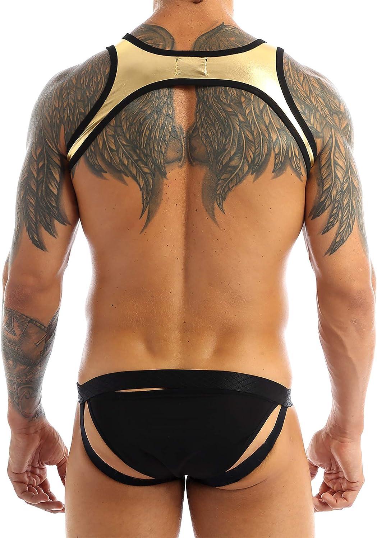 zdhoor Mens Shiny Wrestling Singlet Leotard Underwear Pouch Jockstrap Thong Mankini Bodysuit Jumpsuit