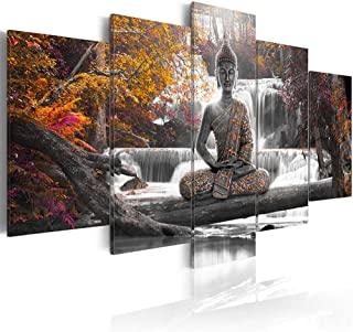 AWLXPHY Decor Buddha Waterfall Wall Art Canvas Painting Framed 5 Panels for Living Room Decoration Modern Landscape Buddha Trees Zen Stretched Artwork Giclee (Yellow, 40