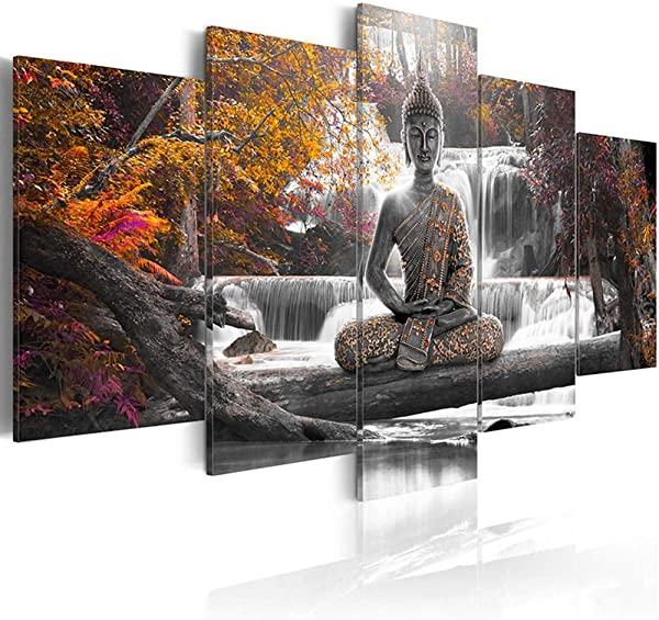 AWLXPHY Decor Buddha Waterfall Wall Art Canvas Painting Framed 5 Panels For Living Room Decoration Modern Landscape Buddha Trees Zen Stretched Artwork Giclee Yellow 80 X40