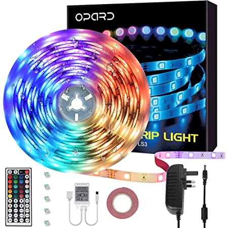 Led Strip Lights with Remote 5m IP65 Waterproof 44 Key IR Remote 5050 RGB 12V Led Lights with 20 Colors 12 Modes for Bedroom Home Outdoor Decoration