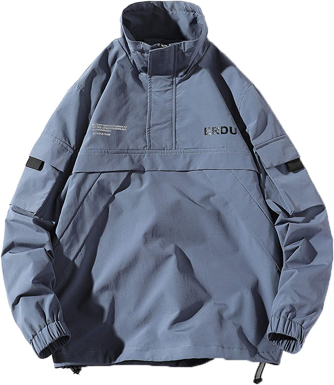 Kevents Men Hip Hop Streetwear Jacket Retro Color Block Patchwork Harajuku Jacket Windbreaker Oversized