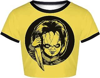 Plustrong Women's Short Sleeve Punk Skull Printed Rave Crop Top T Shirts