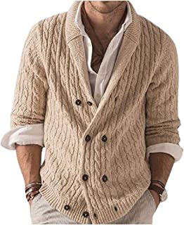 HEFASDM Mens Knit Pure Colour Knitwear Double Breasted Cardigan Pea Coat