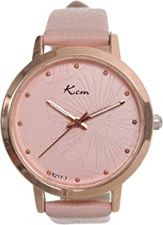 Kcm Casual Watch For Women Analog Pu Leather, Rose