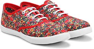 FUEL Women's Girls Fashion Printed Flower Laced Up Casual Bellies Sneakers Shoes