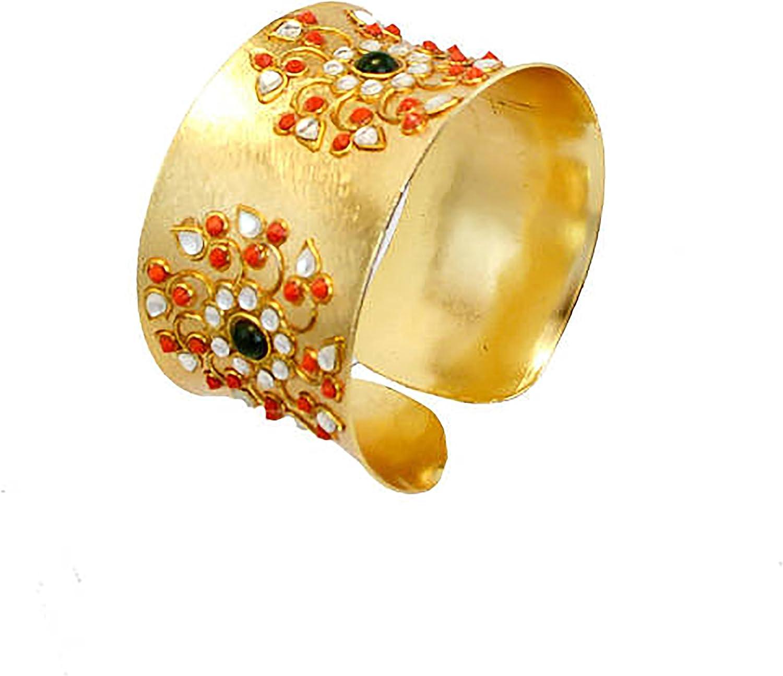 Taneesi Royal Gold Bangle Cuff Bracelet- KUNDAN Bracelet-Gemstone Jewelry,Statement Designer Cuff