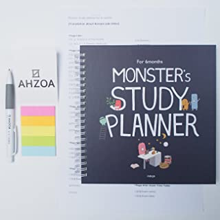 Indigo / AHZOA Monster's Study Planner For 6 Months With AHZOA Pencil and AHZOA 5 Colors Sticky Flag and English Translation Paper About Korean Subtitles (Navy)
