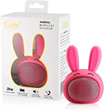 HUGMO Pink Bunny Compact Bluetooth Portable Speaker, USB Rechargeable Battery, Built-in Microphone