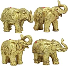 Ebros Thai Golden Elephant Feng Shui Figurine Set of 4 Trunk Raised Elephants 3.5
