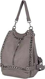 UTO Women Backpack Purse PU Washed Leather Rivet Studded Convertible Ladies Rucksack Shoulder Bag Khaki