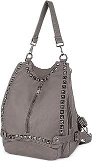 UTO Women Backpack Purse PU Washed Leather Rivet Studded Convertible Ladies Rucksack Shoulder Bag Khaki