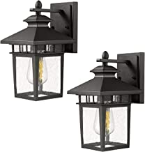 Outdoor Wall Light Sconce, Beionxii 2-Pack Exterior Wall Mount Lantern, Matte Black Finish with Seeded Glass Panel Porch Lighting Fixtures - Upgrade