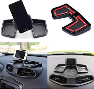 Yoursme Phone Iphone Holder Car Dash 360 Degree Rotate with ABS Storage Box Portable Mount Stand Kit Black for 2015 2016 2017 2018 Jeep Renegade