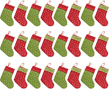 QBSM Christmas Mini Stockings, 24 Pcs 9 inch Small Felt Christmas Stockings with Snowflake Bulk Gift & Treat Holder Bags,