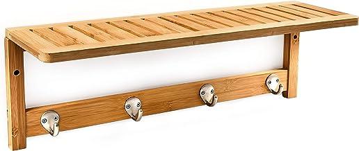 Relaxdays 10017154 Sostenedor de la Toalla Escudo Pared, Estante con bambú, Natural, 50x16x18 cm