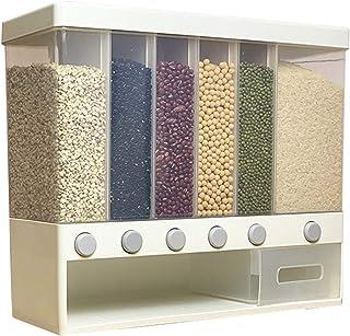 GJCrafts Distributeur de nourriture mural à 6 grilles, seau à riz avec grande capacité, boîte de rangement multifonction p...