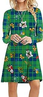Choha Women's Ugly Christmas Dress Casual Long Sleeve Flare A Line Tunic Dress