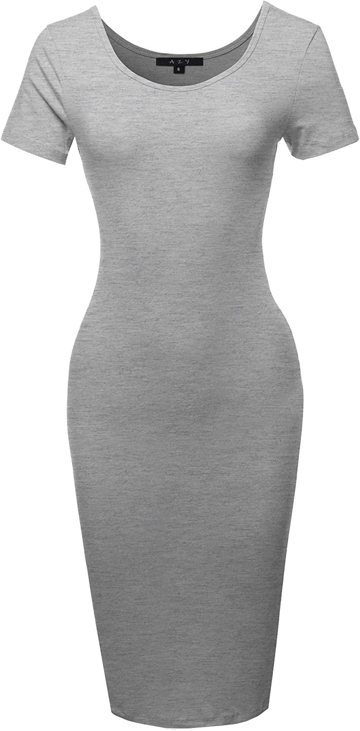 Women's Solid Fitted Classic Short Sleeve Premium Cotton Midi Dress