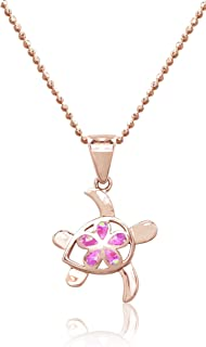14k Rose Gold Plated Sterling Silver Turtle Plumeria Pendant with Simulated Pink Opal and 18