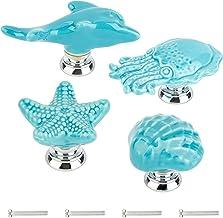 GORGECRAFT 4 Sets Zeester Octopus Shell Dolfijn Keramische Kast Knoppen Marine Dieren Thema Ocean Cartoon Stijl Handgemaak...