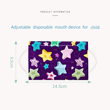 50PCS Kids Disposable Face_Mask, 4-12Years Children Cute Cartoon 3Ply Breathable & Comfortable Face_Mask with Designs for