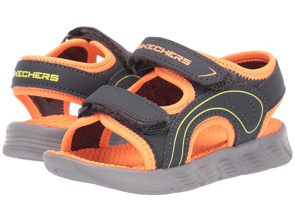 SKECHERS KIDS C-Flex Sandal River Rays (Toddler) (Charcoal/Orange) Boys Shoes
