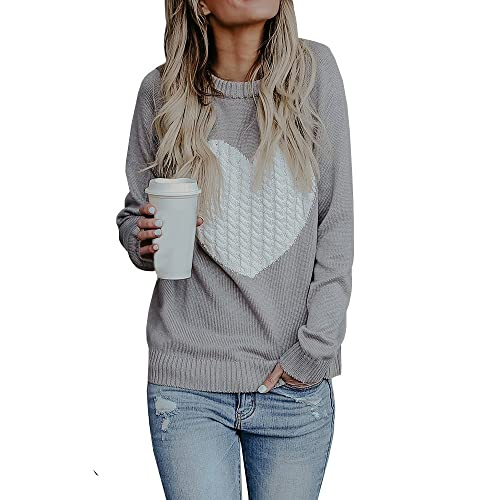 Bbalizko Womens Casual Pullover Sweater Long Sleeve Crew Neck Heart Printed Knit  Sweater Tunic Tops c621b8685