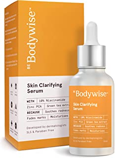 Be Bodywise Niacinamide 10% for Blemishes, Acne Marks & Oil Balancing with Zinc PCA | Skin Clarifying Anti-Acne Face Serum...