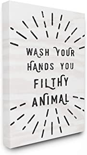 Stupell Industries Black and White Modern Type Wash Your Hands You Filthy Animal Canvas Wall Art, 16 x 20, Multi-Color