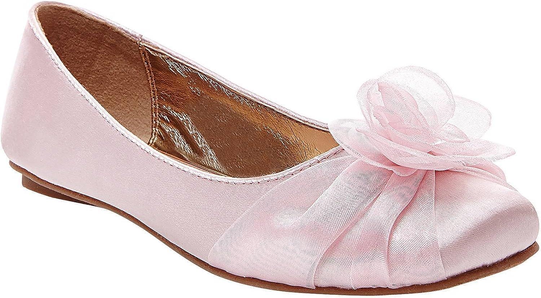 Tevolio Girls' Alicea Satin Floral Ballet Flats Size