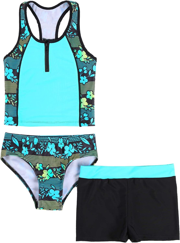 TTAO Kids Girls 3 Pieces Swimsuit Sleeveless Floral Print Tops w