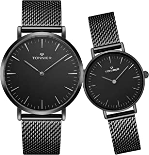 Tonnier Stainless Steel Slim Mesh Strap Couple Watches His and Hers Watches for Lovers Set of 2