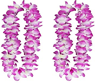 2PCS Purple Hawaiian Garland for Graduation celebration, Hawaiian Leis Necklace Tropical Luau Hawaii Silk Flower Lei Theme Party Favors Wreaths Headbands Holiday Wedding Beach Birthday Decorations