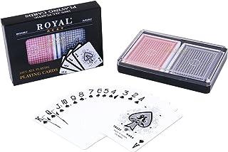 2-Decks Royal Poker Size 100% Plastic Playing Cards Set in Plastic Case, Waterproof (Large (Jumbo) Index)
